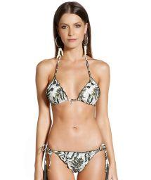 Side-tie scrunch bikini with khaki leaves print - BIQUINI SOPHIA SELVA