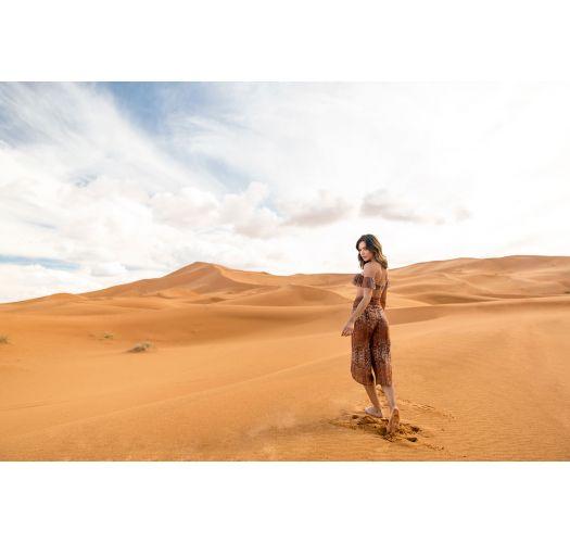 Brown animal print ruffled bandeau bikini with high-waisted bottom - BRIGITTY CAMEL