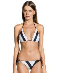 Bikini triangle bicolore noir et blanc - DUO PRETO