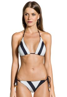 Black and white two-tone triangle bikini - DUO PRETO