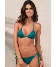 Dark green scrunch bikini with golden details - GOLD GREENLIKE