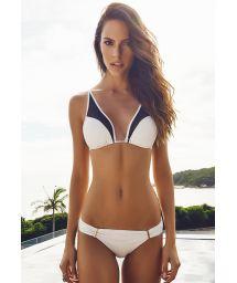 Black/cream dual fabric triangle bikini - ILHAS CANARIAS