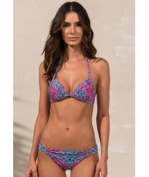 Pleated push-up bikini with a blue and pink print - JANE TULUM