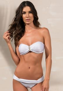 White pleated bikini bandeau with jewlery details - LOLITA BRANCO