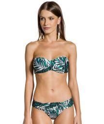 Brazilian bikini with pleated sides and padded top with foliage print - LOLITA FOLHAGENS