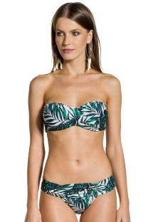 Brazilian bikini with pleated sides and padded top with foliage print - LOLITA FOLHAGENS