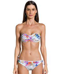 Bikini bandeau imprimé floral et bas à nouettes - LOLITA GAZENIA