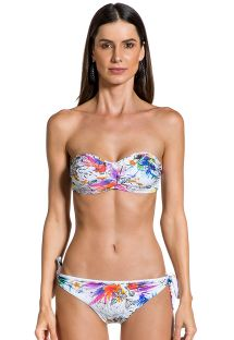 Floral print side-tie bikini with bandeau top - LOLITA GAZENIA