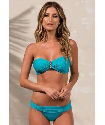 Accessorized turquoise bandeau bikini - LOLITA JADE
