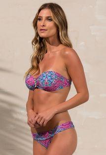 Bandeau-bikini med kopper i blått/rosa trykk - LOLITA ROSADO
