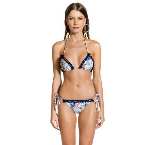 Gemusterter Scrunch-Bikini mit Pompons - POM-POM GAZENIA