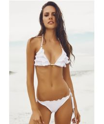 White Brazilian bikini with ruffle detailing - PROVENCE
