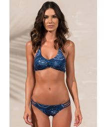 Blue printed bra top bikini with strappy detail - RIALTO