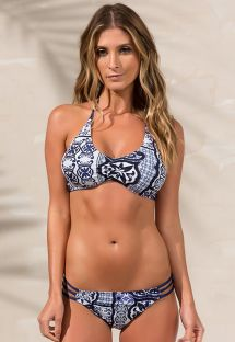 Strappy bra bikini in navy blue print - RIALTO RIVIERA