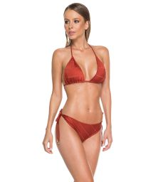 Bikini brésilien scrunch rouille avec surpiqûres - SAHARA BEE