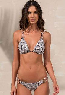 Bikini a triangolo bicolore strappy con accessori - SHELL