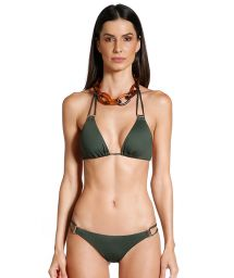 Bikini brésilien scrunch vert kaki détails dorés - SHELL KAKI