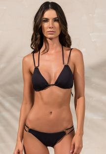 Black accessorised scrunch bikini with double sides - SHELL PRETO