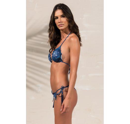 Bikini scrunch bleu marine à pompons frangés - SOPHIA AZULIC