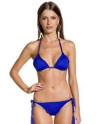 Bikini brésilien scrunch bleu roi à pompons frangés - SOPHIA COBALT