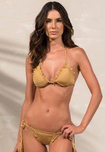 Bikini scrunch color oro brasiliano con bordi ondulati - SOPHIA DOURADO