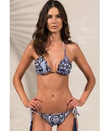 Navy blue scrunch bikini fringed pompoms - SOPHIA RIVIERA BLUE