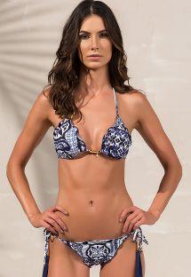 Navy blue scrunch bikini fringed pompoms - SOPHIA RIVIERA BLUE