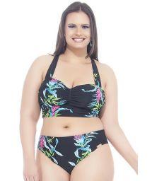 Plus-size floral/black crop-top bikini - CANTOS E ENCANTOS