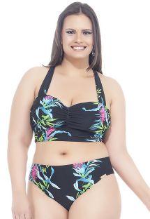 Bikini con crop top, nero e motivi floreali, taglie curvy - CANTOS E ENCANTOS