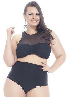 Sort crop top bikini i to forskellige materialer, plus size - PORTO BELO