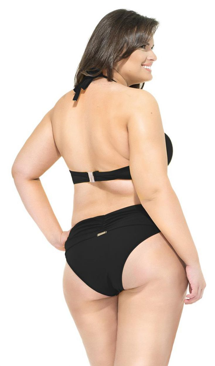 Pleated, black balconette bikini in large sizes - UBATUBA