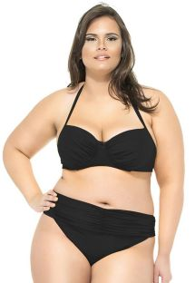 Marszczone, czarne bikini balkonetka, duże rozmiary - UBATUBA