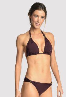 Bikini halter  accessoriato color melanzana - ACCESSORY EGGPLANT