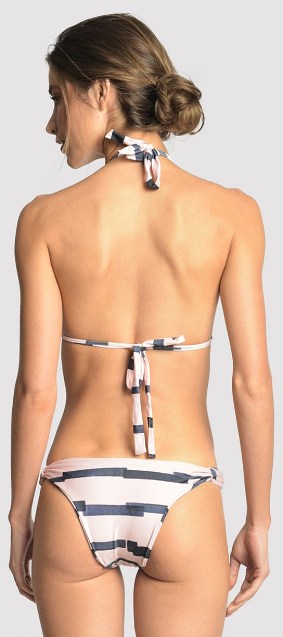 Tvåfärgad trekants-bikini med gyllene ringar - ADJUSTABLE MARINA