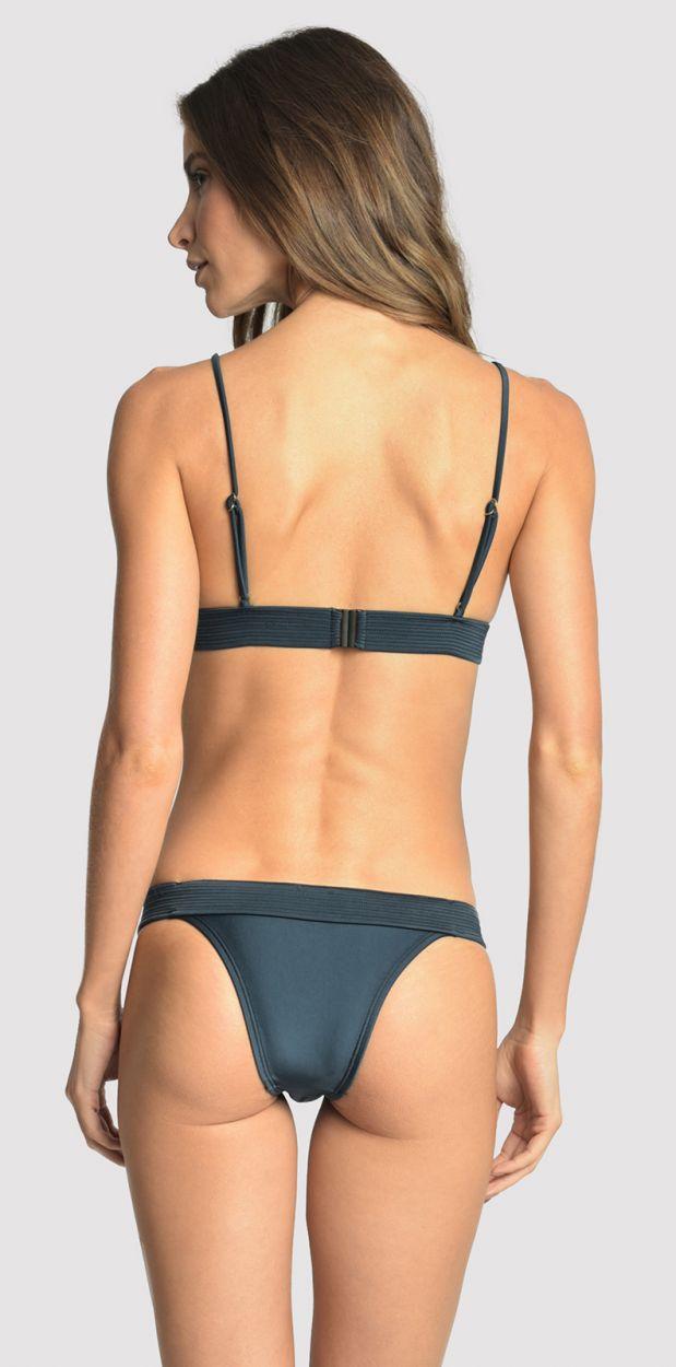 Mörkblå, lyxig bikini med bälte - ARMY BLUE STAR