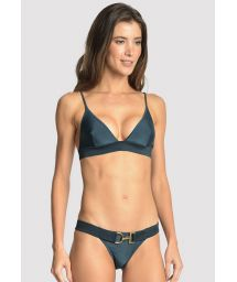 Luxurious dark blue triangle bikini with a belt - ARMY BLUE STAR