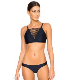 Crop top bikini with low-cut neckline and rows of rings - ATHLETIC ARGOLA