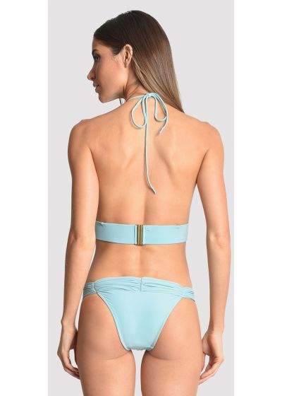 Himmelsblå crop topp bikini, detaljer, halsband och pärlor - BEADED CROP SEA WATER