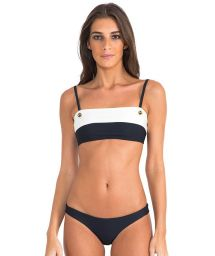 Luxury two tone bandeau bikini with eyelet detail - BICOLOR ATHLETIC BLACK/OFF WHITE