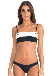 Luxe tweekleurige bandeaubikini - BICOLOR ATHLETIC BLACK/OFF WHITE