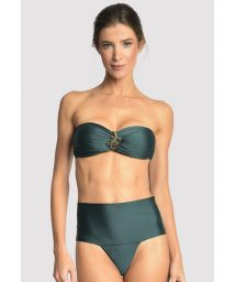 Dark green high waisted bandeau bikini - EMBELLISHED HI RISE ATLANTIC