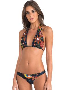 Embroidered triangle scarf bikini with reversible bottom - FOLK EMBROIDERED ATHLETIC