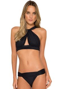 Black shirred Brazilian crop top bikini - GAIVOTA