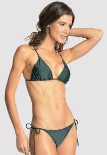 Dark green accessorized Brazilian bikini - LONG HALTER STRING ATLANTIC