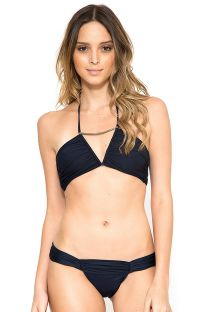 Marine blue bandeau bikini with metallic detail - METAL RUCHED