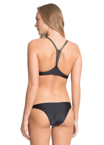 Lyxig, svart bikini med kort topp, läderdetaljer - PANTERA NEGRA