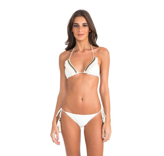 Cream triangle bikini with fringing and accessories - STRING HALTER OFF WHITE