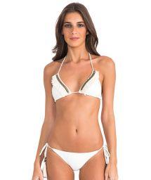 Bikini triangle crème franges et accessoires - STRING HALTER OFF WHITE