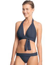 Dark blue bikini with tie-front halterneck triangle top - TOUCH SAFIRA