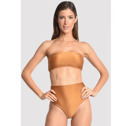 Copper high waisted bandeau bikini with a cover up - VEST GOLDEN GRASS